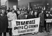 Lobby of TUC for the Shrewsbury Pickets, Congress House, London 1974 AUEW Slough District banner - Chris Davies - 18-12-1974