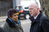 Matt Wrack FBU talking to Moyra Samuels, Justice4Grenfell before the Grenfell fire Inquiry phase two, day one,, Paddington, London. - Jess Hurd - Justice4Grenfell,2020,2020s,activist,activists,against,BAME,BAMEs,Black,BME,bmes,campaign,campaigner,campaigners,campaigning,CAMPAIGNS,communicating,communication,conversation,DEMONSTRATING,demonstrat