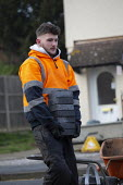 Workers laying a new block driveway, Stratford upon Avon, Warwickshire - John Harris - 21-01-2020