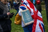 Brexit Day, Westminster, London. - Jess Hurd - 2020,2020s,activist,activists,against,Brexit,Brexit Day,CAMPAIGNING,CAMPAIGNS,DEMONSTRATING,demonstration,EU,European Union,flag,flags,Independence,leave,London,nationalism,nationalist,nationalists,Pr