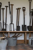 Old gardening tools, Hill Close Gardens, Warwick - restored Victorian hedged gardens - John Harris - 2020,2020s,allotment,allotments,bucket,buckets,conservation,fork,forks,garden,gardener,gardeners,gardening,gardens,Leisure,LFL,LIFE,old,PEOPLE,RECREATION,RECREATIONAL,shed,sheds,shovel,shovels,spade,s