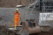 Surveyor at work, Construction site, Coventry & Warwickshire Gateway - John Harris - 05-02-2020