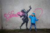 Banksy artwork finished on Valentines day vandalised overnight. Graffiti says ' BCC wankers' referring to Bristol City Council. Easton, Bristol - Paul Box - 15-02-2020