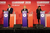 Keir Starmer, Rebecca Long Bailey and Lisa Nandy, Labour Leadership Hustings, hosted by Co-coperative Party, Business Design Centre, North London. - Jess Hurd - 2020,2020s,Asian,Asians,BAME,BAMEs,Black,BME,bmes,Business,Co-coperative Party,Design,diversity,ethnic,ethnicity,FEMALE,husting,hustings,Keir Starmer,Labour Party,leader,Leadership,Lisa Nandy,London,m