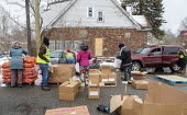 Detroit, USA Volunteers distributing food to the poor, MorningSide Community Organization. Groceries were donated by Gleaners Community Food Bank - Jim West - 10-02-2020