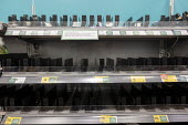 "Shelves empty of hand sanitisers Coronavirus panic buying as customers stockpile; Morrisons Supermarket; Stratford upon Avon; Warwickshire; ""empty shelves,shelf""; ""empty,emptying"" - John Harris - 06-03-2020"