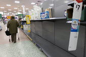 Toilet rolls disappearing off the shelves, Coronavirus panic buying as customers stockpile, Morrisons Supermarket, Stratford upon Avon, Warwickshire - John Harris - 06-03-2020
