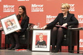Lisa Nandy, Rebecca Long-Bailey with mocked up Mirror Front pages Labour Leader Hustings, Dudley - John Harris - 2020,2020s,Asian,Asians,BAME,BAMEs,Black,BME,bmes,debate,debating,DEMOCRACY,diversity,Dudley,election,elections,ethnic,ethnicity,FEMALE,funny,headline,headlines,humor,humorous,HUMOUR,husting,hustings,