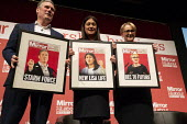 Keir Starmer, Lisa Nandy with mocked up Mirror Front pages Labour Leader Hustings, Dudley - John Harris - 08-03-2020