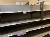 Empty shelves after panic buying, Waitrose, Canary Wharf, London - Jess Hurd - 2020,2020s,bought,buy,buyer,buyers,buying,commodities,commodity,consumer,consumers,contagion,contagious,Coronavirus,COVID-19,crisis,customer,customers,EBF,Economic,Economy,empty,empty shelves,emptying