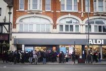 Queuing for food, Aldi Supermarket, Kilburn, London - Connor Matheson - 18-03-2020