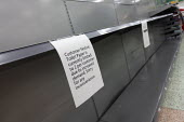 No Toilet rolls, empty shelves, Coronavirus panic buying as customers stockpile, Morrisons Supermarket, Stratford upon Avon, Warwickshire. Sign says Toilet paper is currently limitied to 2 per custome... - John Harris - 18-03-2020
