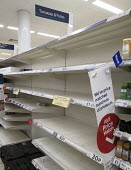 Empty shelves due to panic buying, Tesco, Bristol. No Tomatoes or pulses - Sam Morgan Moore - 2020,2020s,bought,buy,buyer,buyers,buying,commodities,commodity,communicating,communication,consumer,consumers,contagion,contagious,Coronavirus,Covid 19,COVID-19,crisis,customer,customers,demand,disea