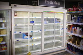 Empty shelves, fresh meat cabinet, Tesco, Kilburn, London - Connor Matheson - 2020,2020s,bought,buy,buyer,buyers,buying,commodities,commodity,consumer,consumers,coronavirus,covid-19,crisis,customer,customers,disease,DISEASES,EBF,Economic,Economy,Empty,empty shelves,epidemic,fri