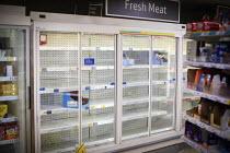 Empty shelves, fresh meat cabinet, Tesco, Kilburn, London - Connor Matheson - 19-03-2020