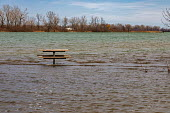 Detroit, Michigan USA. Picnic table far from land, Belle Isle state park. Record high water levels on Detroit River and the Great Lakes have led to shoreline erosion and flooding. - Jim West - 22-03-2020