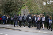 Pupils leaving school closing due to the Coronavirus pandemic, Stratford Upon Avon, Warwickshire. Emergency school closures - John Harris - 20-03-2020
