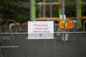Coronavirus Pandemic. Closed children's play area, housing estate, Stratford Upon Avon, Warwickshire - John Harris - 2020,2020s,activities,areas,child,CHILDHOOD,children,Closed,closing,closure,closures,coronavirus,covid-19,disease,DISEASES,epidemic,estate,ESTATES,hazard,hazardous,hazards,HEA,Health,Health and Safety