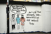 Social isolation, Pro NHS grafitti, Jamaica Street, Bristol. We're working for your benefit. Please stay in for ours - Sam Morgan Moore - 2020,2020s,ACE,art,arts,Bristol,cities,City,coronavirus,covid-19,culture,disease,DISEASES,doctor,doctors,epidemic,Graffiti,hazard,hazardous,hazards,HEA,Health,Health and Safety,Health Worker,health wo