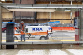 Detroit, Michigan USA, Coronavirus pandemic. Workers disinfecting a mass transit shelter - Jim West - 30-03-2020