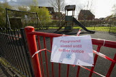 Coronavirus Pandemic. Closed children's play area, housing estate, Stratford Upon Avon, Warwickshire - John Harris - 03-04-2020
