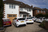 Coronavirus pandemic, Cars parked in the driveway as people stay at home, Stratford Upon Avon, Warwickshire - John Harris - 08-04-2020