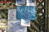Coronavirus pandemic, Notices supporting the NHS on a fence, Putney, London - Duncan Phillips - 13-04-2020