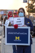 Ann Arbor, Michigan USA Coronavirus Pandemic. PPE over profits! Nurses demanding safe staffing and PPE. Healthcare workers at the University of Michigan joining trade union protest across the country... - Jim West - 15-04-2020