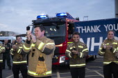 Firefighters Clap for Our Carers University Hospital Coventry. Thank you NHS banner and fire engines - John Harris - 2020,2020s,activist,activists,against,applauding,applause,BAME,BAMEs,banner,banners,Black,BME,bmes,CAMPAIGNING,CAMPAIGNS,CARE,CARER,Carers,clap,clap for carers,clapping,coronavirus,covid-19,DEMONSTRAT