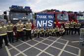 Firefighters Clap for Our Carers University Hospital Coventry. Thank you NHS banner and fire engines - John Harris - 2020,2020s,activist,activists,against,applauding,applause,banner,banners,CAMPAIGNING,CAMPAIGNS,CARE,CARER,Carers,clap,clap for carers,clapping,coronavirus,covid-19,DEMONSTRATING,Demonstration,disease,