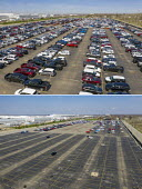 Detroit, Michigan USA Coronavirus Pandemic New Car Inventory Reduced, Fiat Chrysler factory. The nearly empty parking lot where trucks and cars built by normally await transport to dealers. The yard i... - Jim West - 18-04-2020