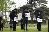 Minute's silence for key workers who have died in the Coronavirus Pandemic, Health workers at Warneford Hospital, Oxford, Placards demanding PPE not promises, International Workers Memorial Day - John Harris - 28-04-2020