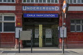 Chalk Farm underground station, one of many tube stops closed due to Covid-19 pandemic. - Philip Wolmuth - 2020,2020s,Chalk,cities,City,close,closed,closed down,closing,closure,closures,coronavirus,covid-19,disease,DISEASES,epidemic,Farm,lockdown,London Underground,LUL,NATIONAL HEALTH SERVICE,NHS,pandemic,