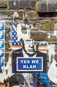 Yes We Klan Donald Trump poster Shoreditch, East London. - Jess Hurd - 2020,2020s,ACE,american,americans,art,arts,artwork,artworks,coronavirus,covid-19,culture,DEMOCRACY,disease,DISEASES,Donald Trump,election,ELECTIONS,epidemic,Flag,flags,graffiti,KKK,lockdown,mural,mura