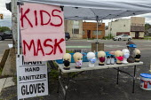 Detroit, Michigan, USA Coronavirus Pandemic. Street corner stall selling face masks for children, hand sanitizer and gloves in a poor neighborhood on the East Side - Jim West - 2020,2020s,America,american,americans,business,CHILD,CHILDHOOD,children,cities,City,coronavirus,covid-19,Detroit,disease,DISEASES,epidemic,face,face mask,face masks,FACES,HEA,Health,juvenile,juveniles