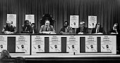 Campaign launch for release of SWAPO leaders, London 1977, Transport House. L to R Liberal Perty MP Richard Wainwright, Botswana High Commissioner B M Setshango, TGWU Gen Sec Jack Jones, Peter Katjavi... - John Sturrock - 18-05-1976
