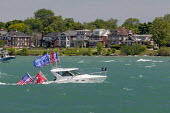 Detroit, Michigan USA Parade of boats celebrating 74th birthday of Donald Trump on the Detroit River. The parade, from Macomb County to Detroit, was organized by the Michigan Conservative Coalition an... - Jim West - 13-06-2020