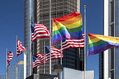 Detroit, Michigan USA Gay pride flags at the Renaissance Center on the day that the Supreme Court ruled that the 1964 Civil Rights Act protects gay and transgender workers from workplace discriminatio... - Jim West - 15-06-2020