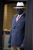Doorman in face mask, George Pragnell, prestige jewellers, Stratford upon Avon, Warwickshire - John Harris - 16-06-2020
