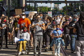 Detroit, Michigan, USA. Deaf people at Black Disabled Lives Matter protest. Protest demanding that police funding be reallocated to mental health first responders and crisis intervention specialists. - Jim West - 15-06-2020