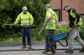 Workers tarmacing after installing a new gas main, Stratford-upon Avon - John Harris - 19-06-2020