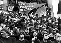 Len Murray speaking, Peoples March for Jobs Rally, 1981, Trafalgar Square, London - Tessa Howland - 31-08-1981
