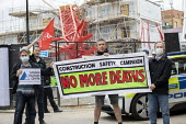 Construction Safety Campaign vigil, Bow crane collapse, Watts Grove construction site, one person killed and homes destroyed. Tower Hamlets, East London. No More Deaths - Jess Hurd - 09-07-2020
