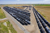 Colorado, USA. Hudson Terminal Rail Services, aerial view of railway oil tank cars in sidings - Jim West - 07-03-2020