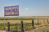 Colorado, USA. Support Your Local Rnacher Buy U.S.A. Beef sign on the roadside. - Jim West - 03-07-2020