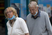 Mask up Friday, elderly shoppers, masks removed as they leave the shop, Stratford Upon Avon - John Harris - 24-07-2020