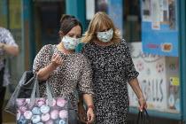 Mask up Friday, Shoppers wearing masks in the street, Stratford Upon Avon - John Harris - 24-07-2020