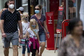 Mask up Friday, young family wearing masks in the street, Stratford Upon Avon - John Harris - 24-07-2020