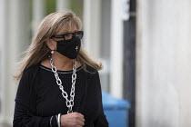 Mask up Friday, wealthy shopper a wearing designer mask in the street, Stratford Upon Avon - John Harris - 24-07-2020