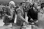 Michael Foot, David Steel and Hugh Rossi playing steel drums, Rally Against Racism, East End London 1978 - Martin Mayer - 10-09-1978